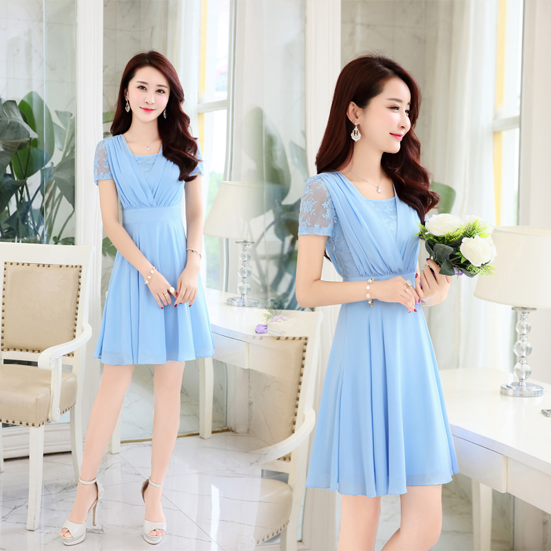 夏季连衣裙2018新款韩版修身气质时尚中长款夏天短袖雪纺裙子女夏