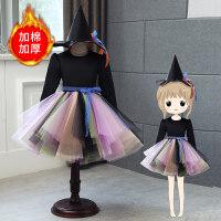 万圣节服装女童女巫巫婆连衣裙帽子儿童化妆舞会派对公主裙演出服