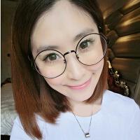 2018新款复古眼镜框女款潮韩版圆形近视眼镜架配成品眼睛男全框金属平光镜