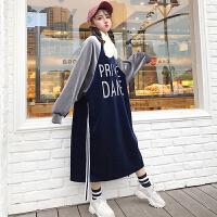 原宿风字母拼色连衣裙女冬季韩版新款宽松中长款金丝绒打底卫衣裙