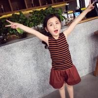 女童背心 夏装新款圆领条纹棉打底t恤衫儿童洋气无袖休闲上衣