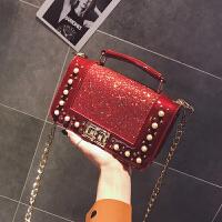 链条小包包女2018新款韩版简约珍珠气质手提包复古亮片单肩斜跨包