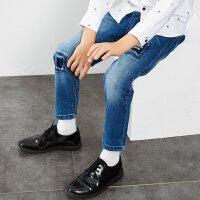 【1件2.5折到手价:53.8】米喜迪mecity童装男童春新款牛仔裤水洗破洞补丁设计长裤潮