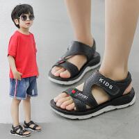 2019夏季新品韩版时尚潮魔术贴儿童男真皮凉鞋软底防滑休闲男童鞋