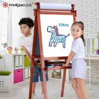 迈高儿童实木画板画架家用宝宝双面小黑板支架式磁性可升降写字板