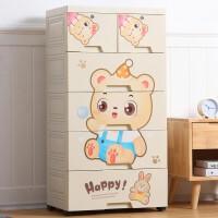 家居生活用品加厚大号抽屉式收纳柜塑料婴儿童衣柜宝宝柜子储物柜整理箱五斗柜
