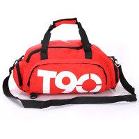 尼龙行李包0单肩手提女包运动大容量双肩包多功能健身训练男包 红色 升级版面料