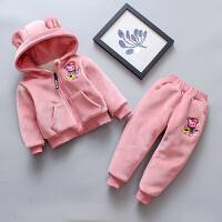 女童冬装金丝绒加绒加厚套装女宝宝冬季1-3-5岁运动两件套洋气潮
