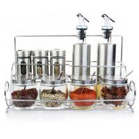 厨房用品玻璃调味瓶调料盒酱油醋壶鸡精盐胡椒辣椒面罐套装