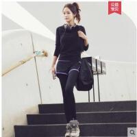 休闲韩国运动套装女大码原宿羽毛球健身房运动服两件套