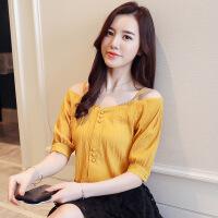 2018夏装新款短袖蕾丝衫雪纺衫打底衫T恤女衬衫雪纺衬衣 黄色