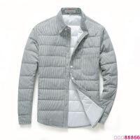 新款冬装男羽绒棉衬衫青年长袖衬衣修身外套保暖寸衣帅气小伙