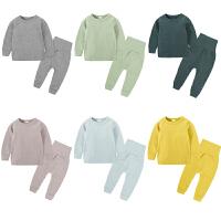 男童保暖睡衣女童春秋季儿童家居服纯棉宝宝空调服内衣套装