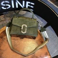 女士包包新款韩版磨砂皮女包单肩斜挎包小包潮流时尚手提包 绿色