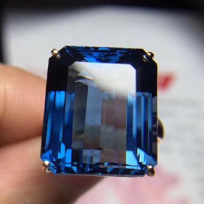 伦敦蓝托帕石戒指,简单四爪经典款,超深的伦敦蓝