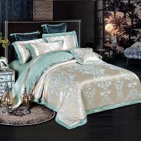 全棉欧式贡缎提花床单四件套纯棉双人天丝被套1.8m米床上裸睡丝滑