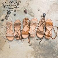玛菲玛图2020夏季新款韩版chic凉鞋女复古真皮平底简约百搭绑带休闲罗马鞋80882-7