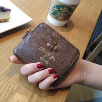 卡包零钱包一体韩版皮小钱包女短款迷你多功能零钱袋钥匙扣 焦糖色 现货