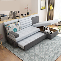 现代简约多功能沙发床 可折叠小户型双人贵妃储物两用布艺沙发床o2j