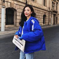 冬装韩版学生女短款bf宽松加厚面包服ins连帽小棉袄