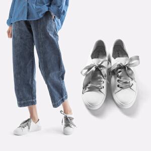 青婉田新款缎带百搭街拍小白鞋女学生平底休闲运动真皮板鞋女