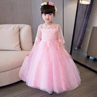 儿童公主礼服蓬蓬裙演出服花童女童婚纱长款裙钢琴纱裙主持人长袖0533
