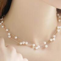 气质项链女百搭锁骨链脖颈链配饰双层珍珠项链饰品送女友爱人生日礼物