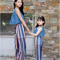 亲子装夏装潮衣母女装套装夏季韩版无袖t恤九分裤两件套