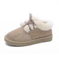 网红一脚蹬雪地靴女可爱短筒加厚加绒新款冬学生面包保暖棉鞋