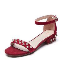Belle/百丽夏季专柜同款羊绒皮革女皮凉鞋R5Q1DBL7
