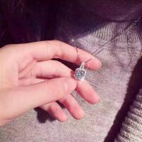 2017新款韩国气质项链女925银短款方块锆石满钻吊坠女装饰锁骨链颈链生日礼物HY C-3-6