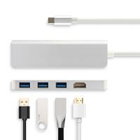USB-C拓展坞微软Surface Go平板笔记本转换器surface book2扩展坞转接头USB 银色【3个USB