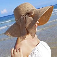 海边出游韩版遮太阳草帽沙滩帽子女士夏天大沿檐遮阳帽 包边款-卡其 均码(可任意折叠)