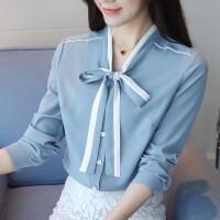 气质职业衬衫女长袖2018秋装新款韩版V领撞色雪纺衫打底衫上衣