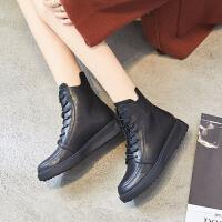 ZHR2018秋冬季新款马丁靴女英伦风平底短靴真皮女靴子厚底机车靴