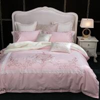 60支长绒棉贡缎刺绣四件套全棉纯棉欧式双人简约被套床单床上用品