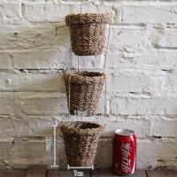创意家居咖啡店铺墙面装饰品挂件美式乡村麻绳编织花盆藤编小花篮