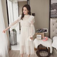 连衣裙吊带两件套裙子 2018流行女装新款韩版长袖蕾丝拼接网纱