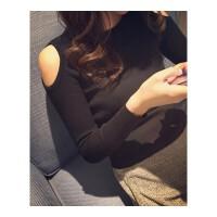秋冬女圆领短针织打底小衫紧身贴身上衣内搭毛衣长袖露肩学生T恤