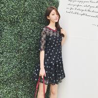 20180823034410266蕾丝裙女高腰修身显瘦镂空星星半身裙a字裙套装两件套