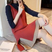 女装秋装中长款背心裙针织衫两件套韩版女毛衣拼接裙套装宽松外套