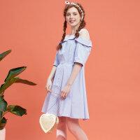 【2件2.5折叠券约:28,12日0点】美特斯邦威裙装女夏装新款条纹假两件连衣裙