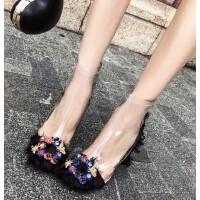 2018新款短靴女粗跟欧美网红高跟鞋pvc靴子春秋夏季马丁靴透明鞋SN1163 黑色