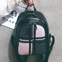 3件7折书包双肩包女韩版2018新款撞色亮片时尚百搭大容量休闲女士背包潮