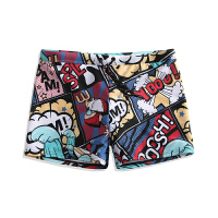 卡通印花游泳裤性感泡温泉衣服男士海边度假宽松平角裤 冲浪英雄