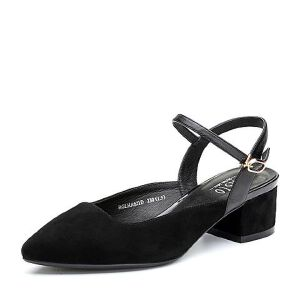 BASTO/百思图2018春季专柜同款羊皮简约纯色尖头粗跟女凉鞋HA621AH8