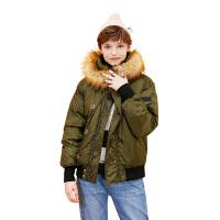 【1件3折价:199.5元】初语冬季新款 貉子毛大廓形big size短款羽绒服外套