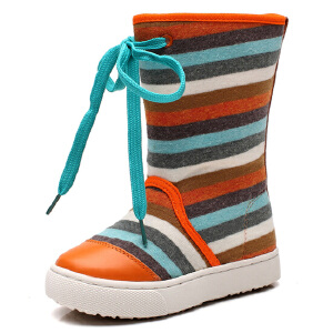 2017春秋款正品比比我童鞋儿童靴子女童条纹帆布中筒靴时尚大气 潮