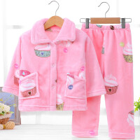 儿童睡衣 秋冬季长袖套装珊瑚绒女童男3-5周岁宝宝7-9家居服