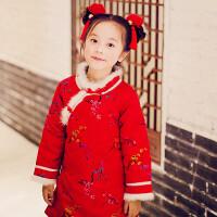 儿童唐装汉服女宝宝冬装旗袍加厚格格服拜年服过年装 红色 踏雪寻梅